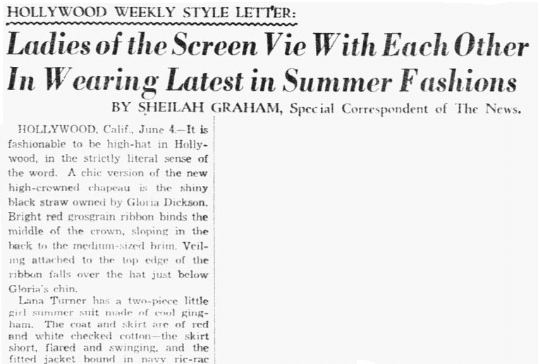Ladies of the Screen Vie with Each Other in Wearing Latest in Summer Fashions, Dallas Morning News newspaper article 5 June 1939