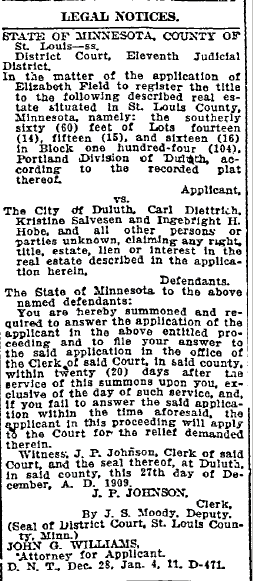 legal notice for Elizabeth Field, Duluth News-Tribune newspaper article 11 January 1910