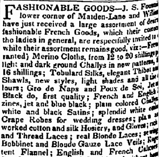 clothing ad, Evening Post newspaper advertisement 13 October 1834