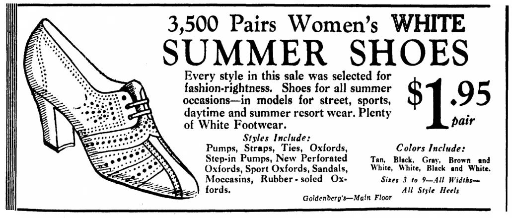 ad for summer shoes, Evening Star newspaper advertisement 13 May 1934