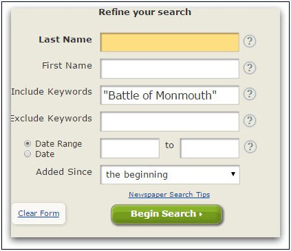 "screenshot of the GenealogyBank search box showing a search for the ""Battle of Monmouth"""