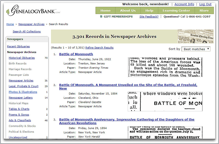 "screenshot of the search results in GenealogyBank for the search ""Battle of Monmouth"""