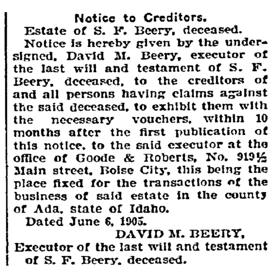 legal notice for S. F. Beery, Idaho Statesman newspaper article 26 June 1905