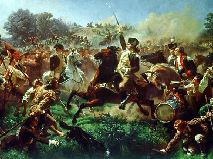 "Painting: ""Washington Rallying the Troops at Monmouth,"" by Emanuel Leutze"