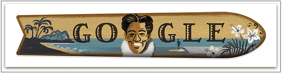 a Google Doodle of Hawaiian surfer Duke Kahanamoku