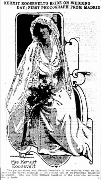 wedding photo of Belle Wyatt Willard Roosevelt, Jackson Citizen Patriot newspaper article 26 June 1914