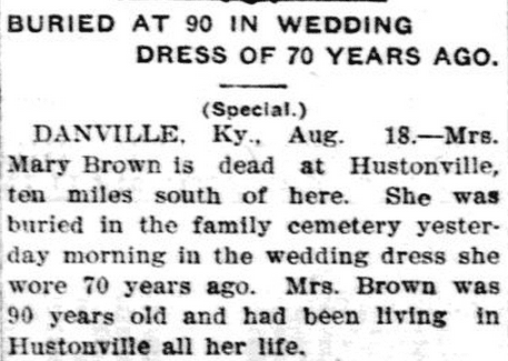 obituary for Mary Brown, Lexington Herald newspaper article 19 August 1907