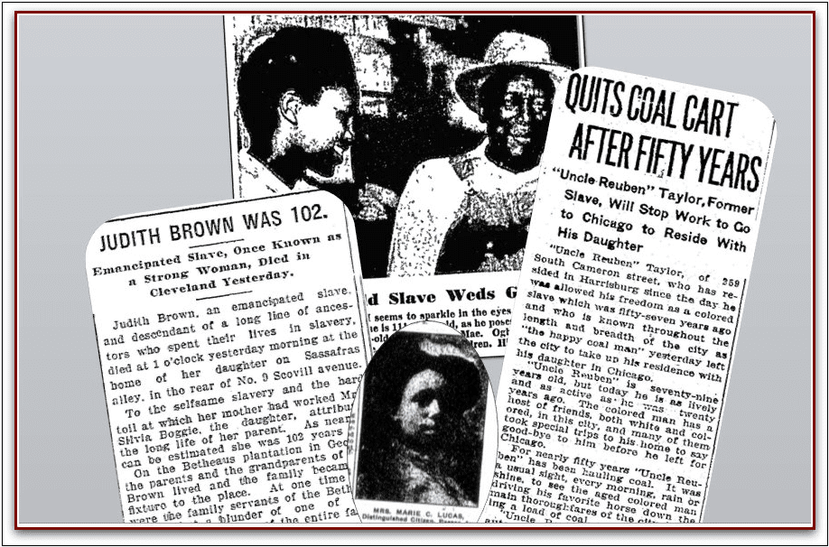 a montage of newspaper articles about former slaves