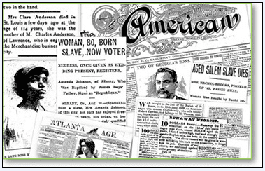 a montage of newspaper articles from African American newspapers