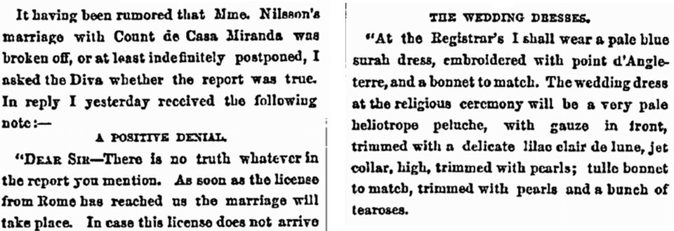 wedding announcement for Mme. Nilsson and Count de Casa Miranda, New York Herald newspaper article 9 July 1885