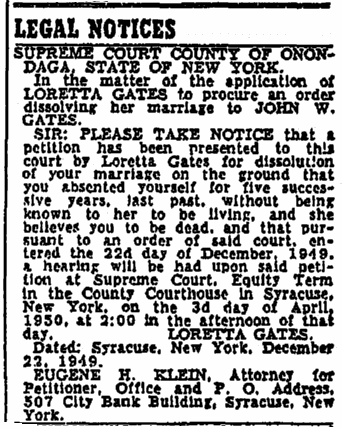 legal notice for Loretta Gates, Oregonian newspaper article 12 February 1950