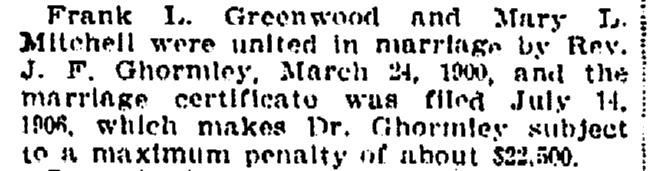 article about Rev. Ghormley being fined for filing marriage certificates late, Oregonian newspaper article 2 September 1906