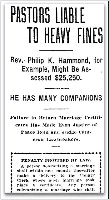 Pastors Liable to Heavy Fines, Oregonian newspaper article 2 September 1906