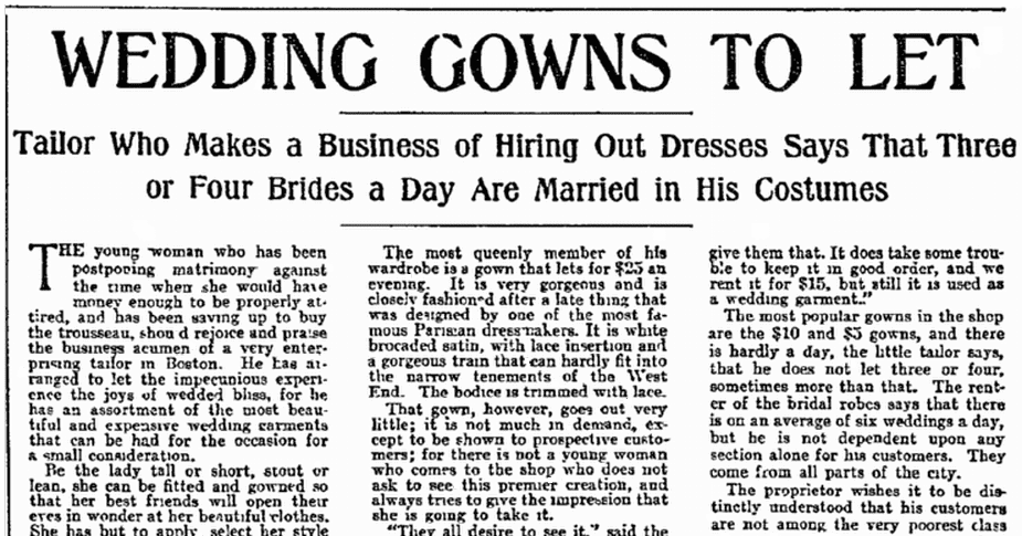 article about wedding gown rentals, Philadelphia Inquirer newspaper article 28 July 1901
