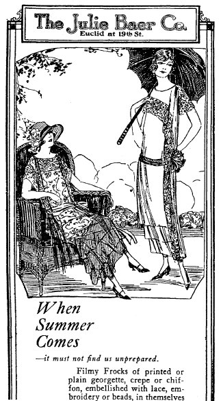 ad for summer clothes, Plain Dealer newspaper advertisement 25 May 1924
