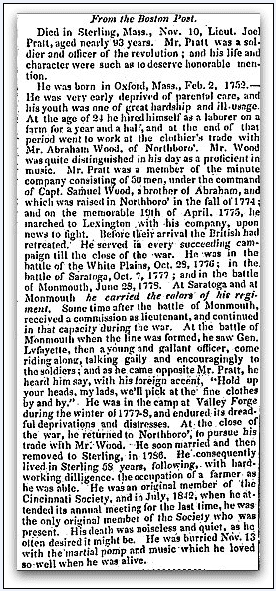 obituary for Joel Pratt, Times newspaper article 30 November 1844
