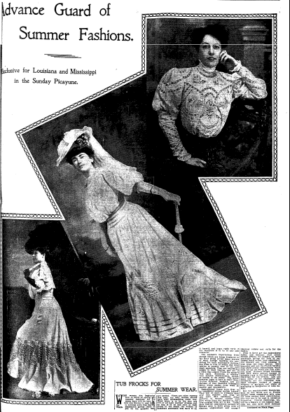 summer fashions ad, Times-Picayune newspaper advertisement 11 February 1906