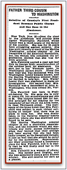 article about Agnes Washington Fairchild, Anaconda Standard newspaper article 24 November 1901