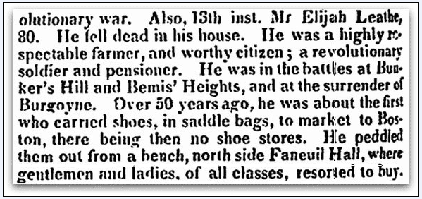 obituary for Elijah Leathe, Boston Traveler newspaper article 22 December 1835