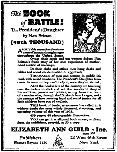 """ad for Nan Britton's book """"The President's Daughter,"""" Evansville Courier and Press newspaper advertisement 28 February 1928"""