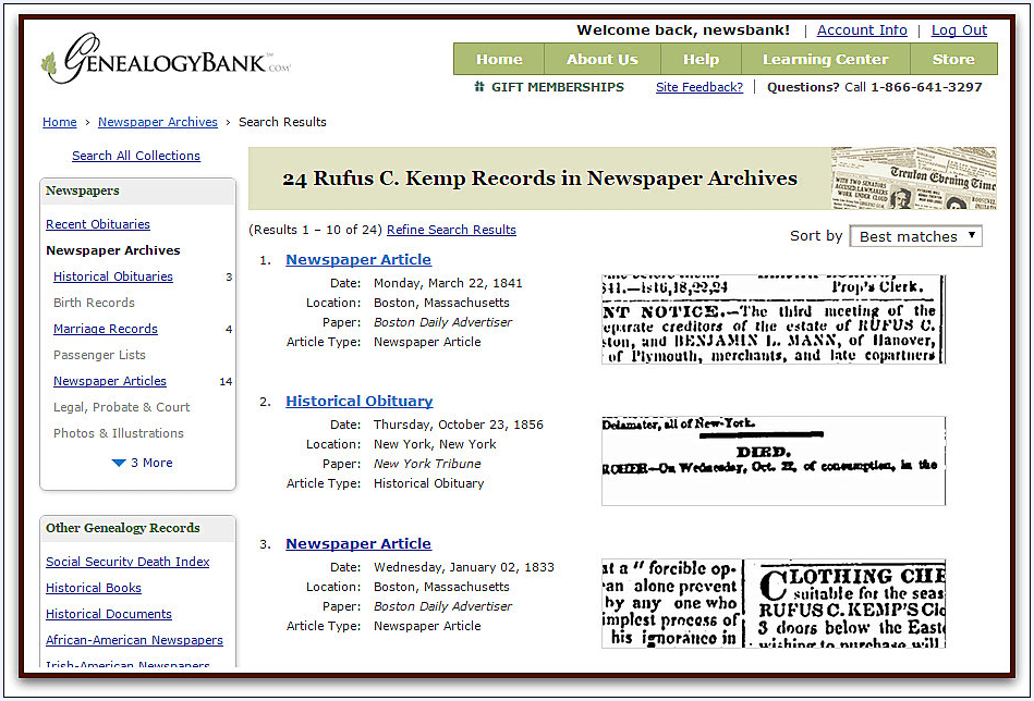 screenshot of GenealogyBank's search results page fora search for Rufus C. Kemp