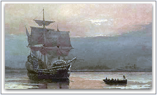 """painting: """"Mayflower in Plymouth Harbor"""" by William Formby Halsall"""