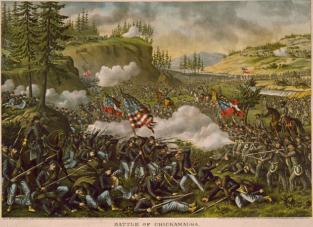 illustration: the 1863 Civil War Battle of Chickamauga, by Kurz & Allison, c. 1890