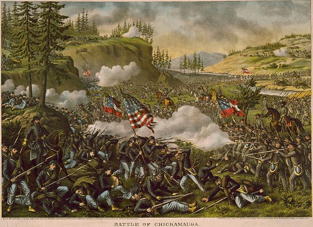 illustration: the 1863 Civil War Battle of Chickamauga, by Kurz & Allison, c. 1890
