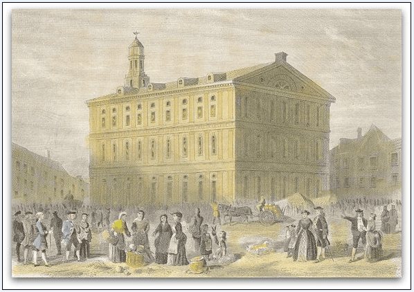 illustration of Boston's Faneuil Hall as it appeared in 1776
