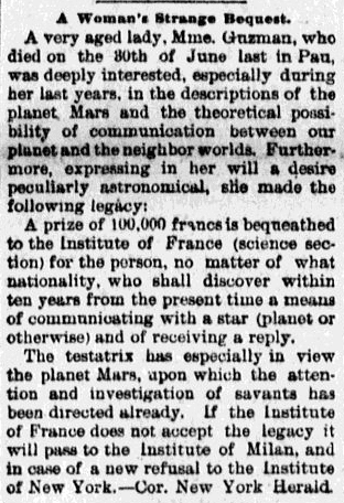 article about Mrs. Gruzman's bequest, Macon Telegraph newspaper article 24 January 1892