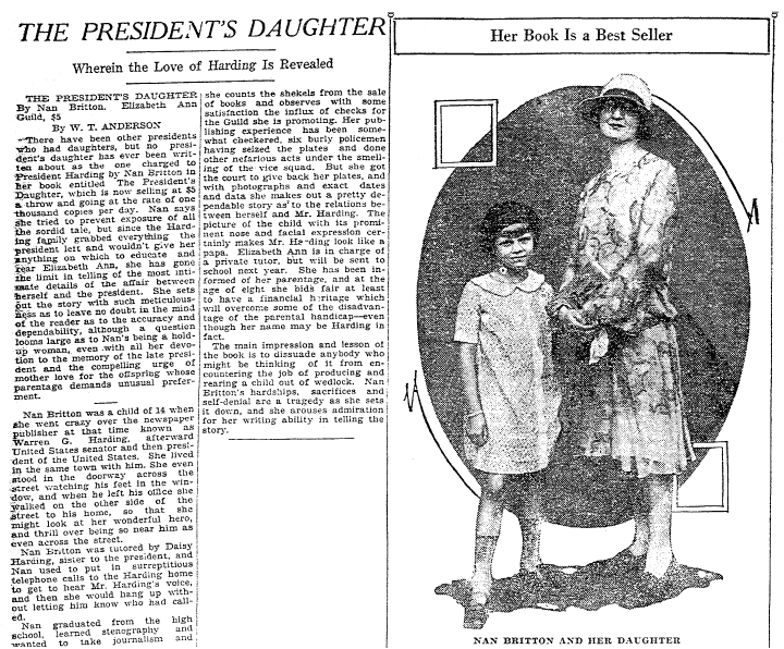 article about Nan Britton and her daughter Elizabeth, Macon Telegraph newspaper article 6 November 1927