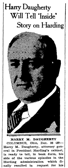 article about Harry M. Daugherty writing a book to defend President Harding, Macon Telegraph newspaper article 29 December 1931