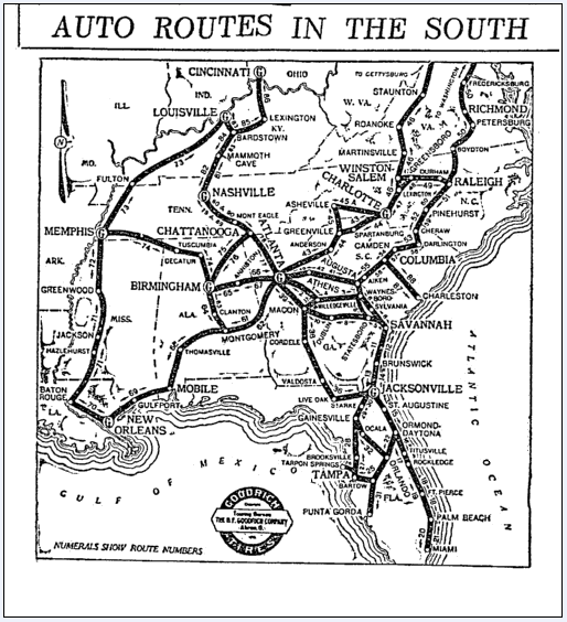 map of auto routes in the Southern U.S., Miami Herald newspaper article 30 August 1915