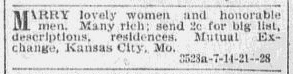 ad from a matchmaking service, Omaha World Herald newspaper advertisement 14 January 1900