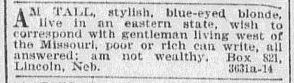 personal ad, Omaha World Herald newspaper advertisement 14 January 1900