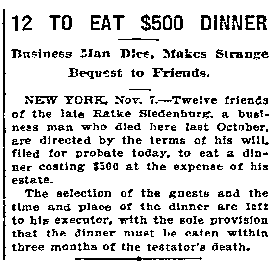 article about Ratke Siedenburg's funeral banquet, Oregonian newspaper article 8 November 1910