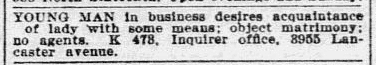 personal ad, Philadelphia Inquirer newspaper advertisement 8 April 1900