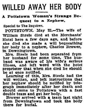 article about Mrs. Steele's bequest, Philadelphia Inquirer newspaper article 1 June 1896