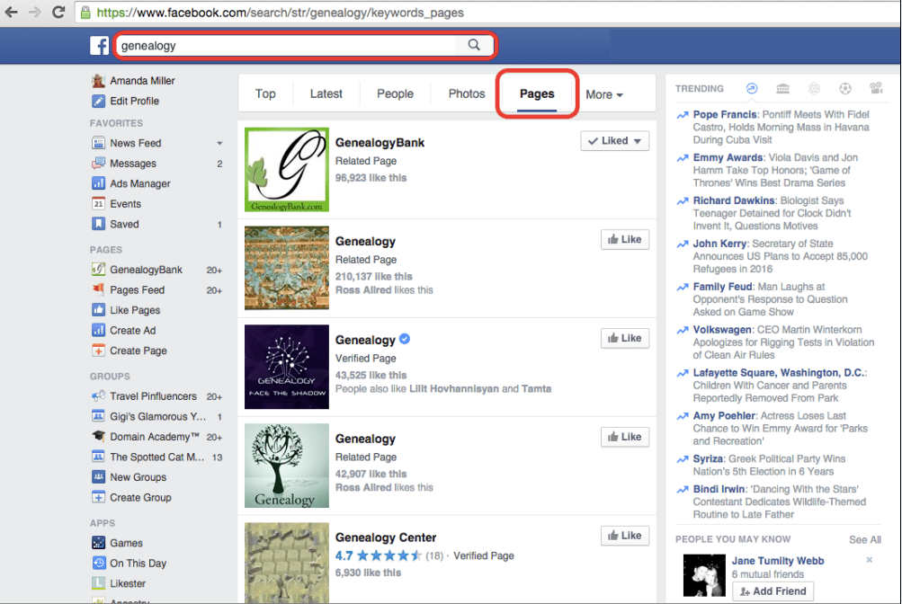 screenshot of genealogy pages on Facebook
