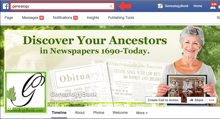 screenshot of GenealogyBank on Facebook