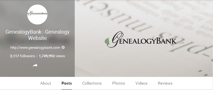screenshot of GenealogyBank on Google+