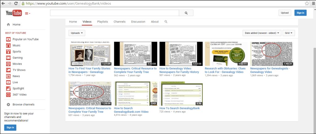 screenshot of GenealogyBank tutorial videos available on YouTube