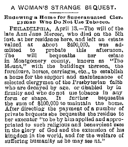 article about Ann Jane Mercer's bequest, Plain Dealer newspaper article 14 April 1886