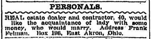 personal ad from Frank Felman, Plain Dealer newspaper advertisement 4 July 1911