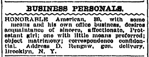 personal ad from D. Rengaw, Plain Dealer newspaper article 4 July 1911