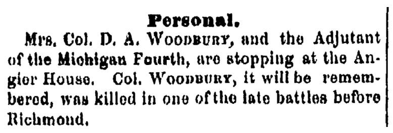 personal notice about Mrs. Woodbury, Plain Dealer newspaper article 12 July 1862