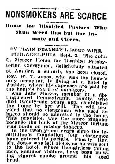 article about Ann Jane Mercer's bequest, Plain Dealer newspaper article 3 September 1909