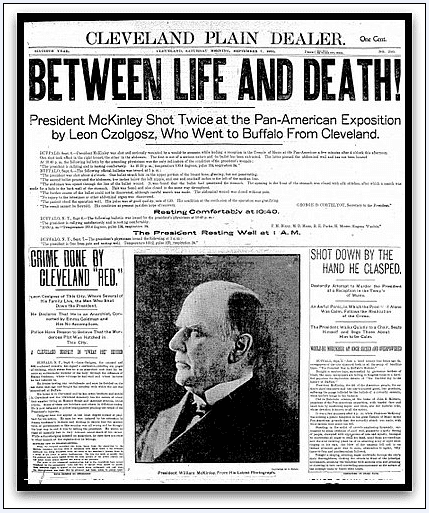 article about the assassination of President William McKinley, Plain Dealer newspaper article 7 September 1901