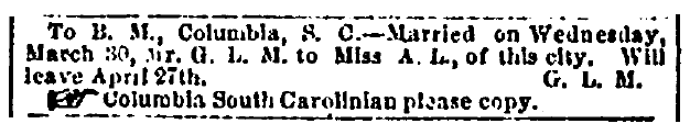 marriage announcement, Richmond Enquirer newspaper article 16 April 1864