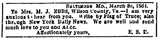 personal ad to M. J. Ebbs, Richmond Enquirer newspaper advertisement 16 April 1864